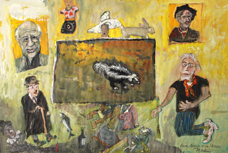 "James Martin, ""Four Artists with Skunk"""