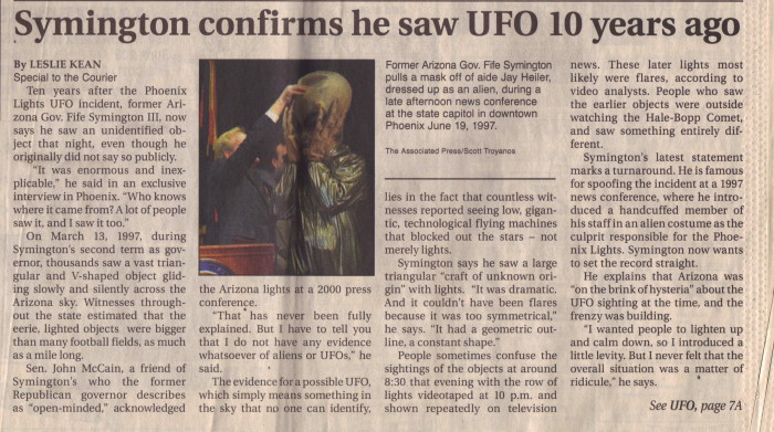 This was a front page story I wrote to break the news of Gov Symington's admission that he saw the UFO during the Phoenix incident - ten years after the fact. The story was picked up far and wide and covered by CNN. Credit: Leslie Kean